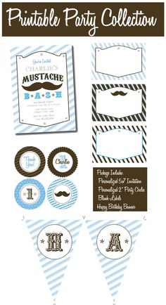 Mustache Bash Collection PRINTABLE PARTY PACKAGE by by ItsyBelle