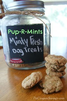 Pup-R-Mints: Homemade Breath Freshening Dog Treats #diy #homemade #dogs/ really cute name