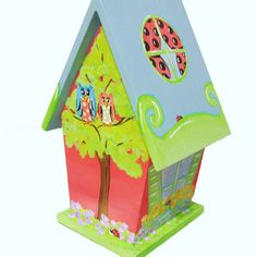 Ladybug Hand Painted Birdhouse with Owls