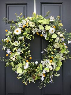 Spring Wreath Spring Door Wreaths Green White Yellow Wildflower Wreaths Spring Door Decor Gift for Her Housewarming Gift Spring Gift Ideas