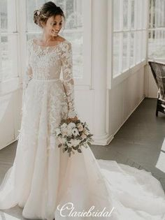 Affordable Long Sleeve Wedding Dress Ideas For Winter Long Sleeve Wedding, Long Wedding Dresses, Designer Wedding Dresses, Modest Wedding Dresses With Sleeves, Ling Sleeve Wedding Dress, Online Wedding Dresses, Mormon Wedding Dresses, December Wedding Dresses, Tailored Wedding Dress