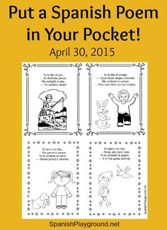 Poem in Your Pocket Day is coming and kids can share poems in Spanish! Four short printable animal poems for Spanish learners.