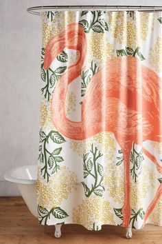 Slide View: 1: Flamingo Shower Curtain