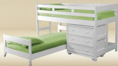 L shaped bunk, low loft bed for the boys' room... but maybe not in white?
