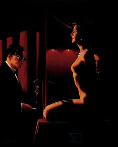 Jack Vettriano, OBE is a Scottish painter. His 1992 painting, The Singing Butler, became a best-selling image in Britain. For biographical notes -in english and italian- and other works by Vettriano see: Jack Vettriano, 1951 Jack Vettriano, The Singing Butler, Serpieri, The Woman In Black, Fabian Perez, Edward Hopper, Robert Mcginnis, Boris Vallejo, Frank Frazetta