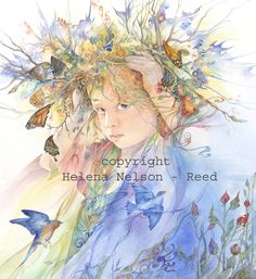 """""""The May Queen"""" par Helena Nelson-Reed Art And Illustration, Illustrations, Fantasy Kunst, Fantasy Art, Watercolor Portraits, Watercolor Paintings, Watercolors, Megan Hess, Mystique"""