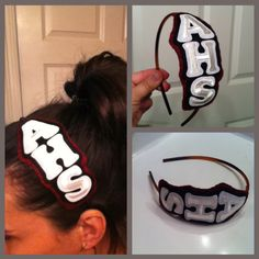 High School pride headband....or you can use your intials...buy the letters at Walmart or any craft store. Attach them to a piece of felt and attach the piece to the headband...Very Cute Idea!
