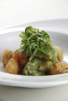 Spicy Tempura California Avocado and Rock Shrimp with Creamy Tofu and Yuzu Sauce from the california avocado comission