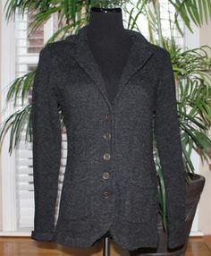 CAbi 621 Gray Wool Button Down Cardigan Sweater Size M