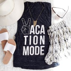 Vacation Mode Women's graphic tank top by DovetailVintageShop Graphic Shirts, Graphic Tank, Graphic Design, Stitch Fix Stylist, Casual Tops For Women, Muscle Tees, Love Fashion, Summer Outfits, Tank Tops