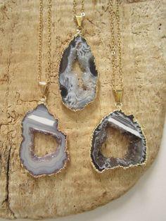 Agate Geode Slice Necklace Druzy Drusy Quartz by julianneblumlo, $88.00