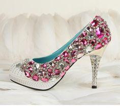 Hand sew princess crystal shoes party shoes by Creativesugar, $139.00