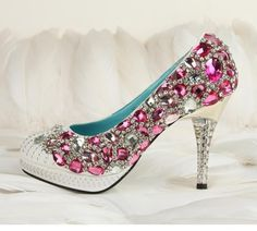 Hand sew princess crystal shoes party shoes by Creativesugar, $139.00
