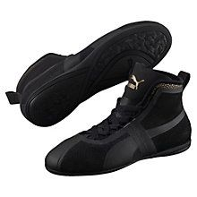 <H6>PRODUCT STORY</H6><p>A fearless update of the PUMA Gong – a classic boxing design from the 60s – the Eskiva fuses true sport heritage and high fashion with a contemporary, low-profile. Crafted with a sleek textile upper, it's boldness born in the boxing ring.</p> <br><h7>FEATURES + BENEFITS</h7><ul><li>Heel pull tab for easy on/off</li></ul><br><h7>DETAILS</h7><ul><li>Textile upper with metallic overlays</li><li>Mid height</li><li>Slip-in construction with elastic strap…