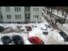 Snowfall destroying cars... lucky pedestrians...
