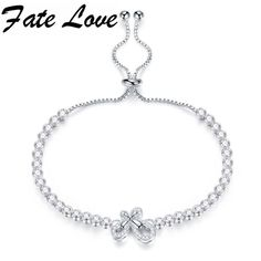 Fate Love Bowknot White Gold Color Copper Bracelet Cubic Zirconia Adjustable Clasp Butterfly Chain Jewelry For Women Lady FL962