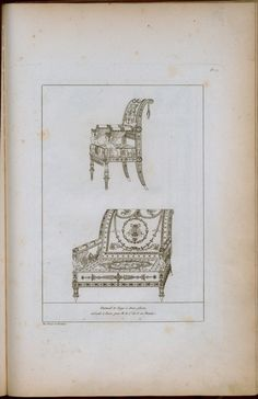 Chpt 2: Fauteuil et siege a deux places c 1800; Paris area, france; Charles Percier and Pierre -Francois-Leonars Fontaine; published in Recueil de decorations interieures, 1812, 1827