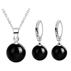 240f120ef 925 Sterling Silver Black Agate Necklace And Earring Set Accessories  Jewellery Natural Crystal Necklace Fine Jewelry