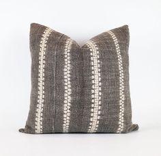 Vintage Dark Gray Hemp Hmong Hill Tribe Textile by INDIEbungalow