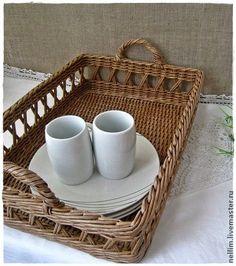 """Поднос плетеный """"Завтрак в Провансе"""" - бежевый,поднос для кухни,поднос для завтрака"""
