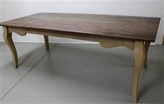 Reclaimed Barn Wood Farm Table With Cabriole Legs And Painted Base