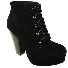Bonnibel Women's Dustin-1 Nubuck Lace Up Stacked Heel Platform Round-toe Ankle Booties (8, Black Nubuck) -- You can get additional details at the image link.