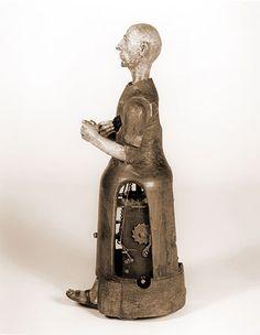 Inside view of mechanical automaton monk.