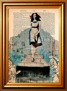 Banksy's Alice On The Catwalk Print on upcycled by ForgottenPages, $8.00