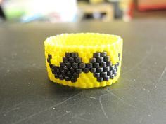 Mustache Ring Moustache Ring Neon Yellow Ring by foong on Etsy