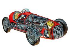 Ferrari 166 race car - Formula 2 - 1948 - cutaway