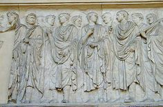 ARA PACIS. Flamines priests wearing unusual skull-cap. Procession of priests to the altar on the day of consecration by Augustus and his family.