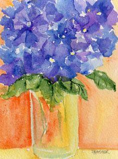 Hydrangeas painting ART  in Vase original by SharonFosterArt, $18.00