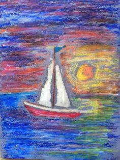 Oil pastel and acrylic wash 4th grade