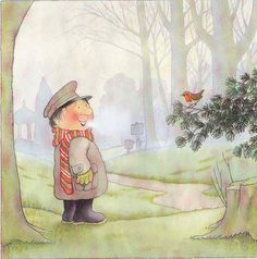 From the wonderfully illustrated series Percy the Park Keeper by Nick Butterworth - Winter Illustration, Children's Book Illustration, Illustrations, Best Children Books, Childrens Books, Percy The Park Keeper, One For Sorrow, Animal Years, Children's Book Characters