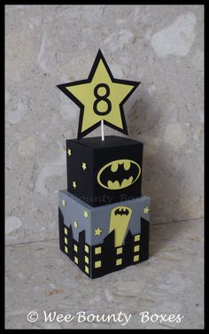 Batman Inspired Table Centrepieces by WeeBountyBoxes on Etsy                                                                                                                                                                                 Más