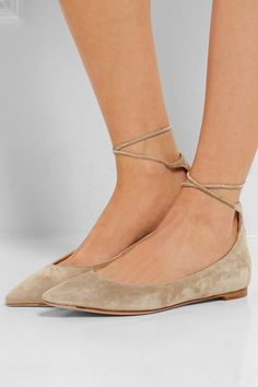 Gianvito Rossi | Suede point-toe flats | NET-A-PORTER.COM