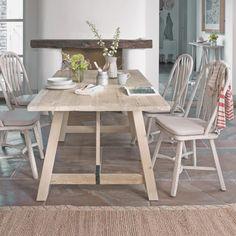 Champ kitchen table styled in kitchen with Cinnabar floor rug