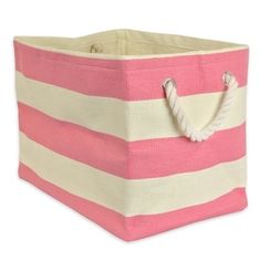 Eye-catching stripes enliven this woven paper bin. A roomy interior and sturdy rope handles make it ideal for storage. Decorative Storage Bins, Paper Storage, Storage Baskets, Storage Containers, Decorative Baskets, Laundry Bin, Laundry Room, Fabric Bins, Pink And White Stripes