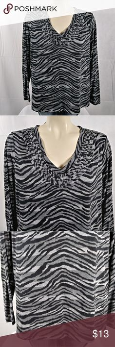 30fb4ae380139 DANA BUCHMAN XL Zebra Striped Shirt DANA BUCHMAN XL Zebra Striped Shirt Dana  Buchman Tops Tips