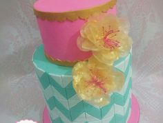 Pink and teal cake w/ chevron pattern and edible rice paper flower ♡