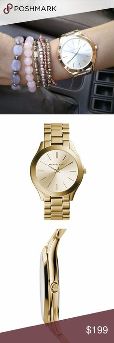 NWT Authentic Michael Kors Gold Runway Watch NWT 100% Authentic Michael Kors Gold Runway Watch  This Michael Kors Gold Toned Runway Watch is the perfect accessory for any outfit.  The Runway watches mix Sophistication with Sleekness to product the Perfect Mid-Way watch that can be worn for any Occasion.  Comes with all Retail Packaging!  Moda Boutique SF Moda Black Label @ModaByBoutique Michael Kors Accessories Watches