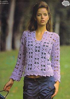 Crochet Long-Sleeve Top - Chart Pattern