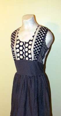 ADORABLE Navy & White POLKA DOT Cotton Dress by BeauMondeVintage, $68.00