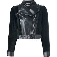 Alexander McQueen cropped biker jacket ($3,805) ❤ liked on Polyvore featuring outerwear, jackets, black, biker jacket, zip front jacket, alexander mcqueen, cropped biker jacket and cropped moto jacket