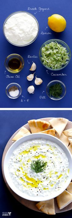 Learn how to make homemade tzatziki with this easy recipe!   gimmesomeoven.com