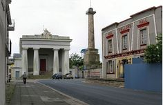 """The Parthenon-inspired town hall (now Devonport Guildhall); the Egyptian-style library (now the Oddfellows Hall); and the 124-foot column commemorating Devonport's rebadging from its previous incarnation as """"Plymouth Dock""""."""