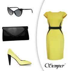 W Semper kochamy kontrasty! Żółta sukienka z czarnym paskiem optycznie podkreśli Twoją talię, a kobiece akcesoria sprawią, że będziesz świecić jaśniej niż promienie słońca. (Okulary - Tom Ford, torebka - Semper, buty - Kenzo).   Sukienka: http://bit.ly/SukniaNadia  Torebka: http://bit.ly/CzarnaKopertowka #semper #semperfashion #dress #yellow #yellowdress #woman #wiosna #spring #dresscode #woman #fashion #moda #glasses #inspirations #fashioninspirations #inspiracje #modoweinspiracje