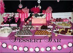 Lingerie theme dessert bar - cute idea for a bachelorette party (cute idea to have the victoria secrets bags as decor)