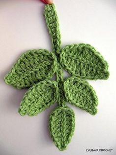 Show Crocheting Ideas Tutorial Pattern Crochet Applique Branch of Leaves, Chunky Crochet Green Leaf Pattern, Unique Crochet Item Lyubava Crochet Pattern number via Etsy. Crochet Diy, Crochet Leaf Free Pattern, Pattern Leaf, Crochet Tutorial, Stitch Crochet, Mode Crochet, Crochet Leaves, Crochet Motifs, Unique Crochet