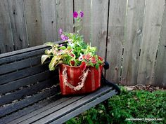 French Country look for less- Goodwill burlap bag as planter